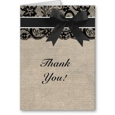 Black Lace Burlap Look Thank You Card