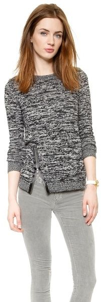 I like the interesting zipper on the sweater. I could wear it with black slacks for work. I like that this sweater is not plain or simple. - KMA