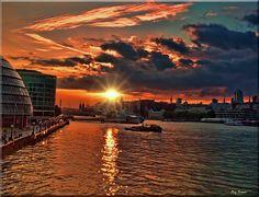 London sunset from Tower Bridge, by Reg Ramai, 2011.