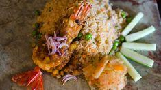 Pan-fried prawns with prahok rice