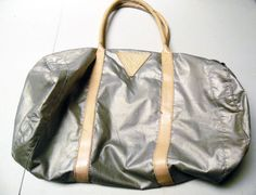 Guess Duffel Bag Travel Gym Bag Silver with Pink Trim 1990s  #Guess