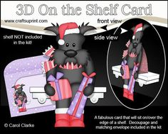 3D On the Shelf Card Kit Christmas Maisie Scottie Dog on Craftsuprint - View Now!