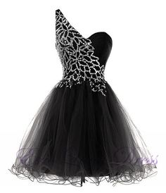 Black One Shoulder Rhinestone Embellished Short Tulle Homecoming Dress