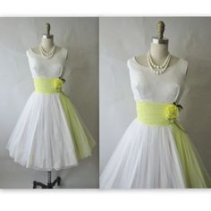 50's Wedding Dress // Vintage 1950's White Chiffon Wedding Party Prom Dress S