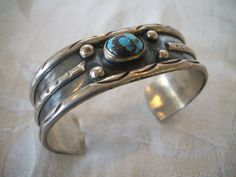 Old Primitive NAVAJO Sterling Silver & TURQUOISE Cuff BRACELET.  TurquoiseKachina on Etsy, $233.10