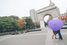 Washington Square Park engagement session captured by NYC wedding photographer Ben Lau.