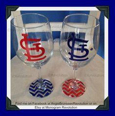 Set of 2 St. Louis Cardinal Inspired Wine Glass Chevron Bottom STL Cardinal Nation on Etsy, $20.00