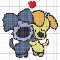 Woezel en pip knuffelen - Stitch Fiddle