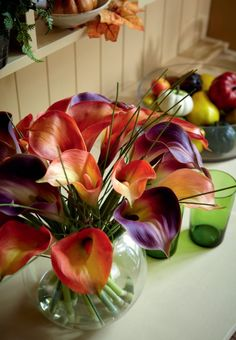 Silk flower arrangement in lefton china porcelain vase repurposed the warming feeling of contrasting deep purples and bright oranges in an autumn silk flower arrangement mightylinksfo Gallery