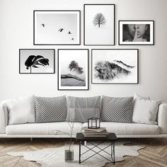 Picture Wall Living Room, Room Wall Decor, Living Room Decor, Bedroom Decor, Gallery Wall Layout, Black And White Photo Wall, Fashion Wall Art, White Walls, Wall Art Prints