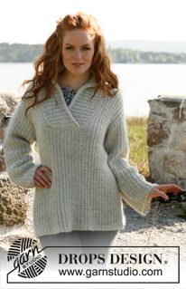 """Knitted DROPS jumper for women with shawl collar in """"Alpaca"""" and """"Kid-Silk"""". Size: S to XXXL. ~ DROPS Design"""