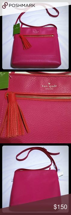 NWT Kate Spade dessi crossbody bag. AUTHENTIC! This gorgeous crossbody is a great addition to your bag collection! It has a pink and red leather exterior. Outside zip compartment has red tassel handle.  Interior is magenta. Comes with side zip compartment and an open side compartment.  NWT. Never been used. New condition. kate spade Bags Crossbody Bags