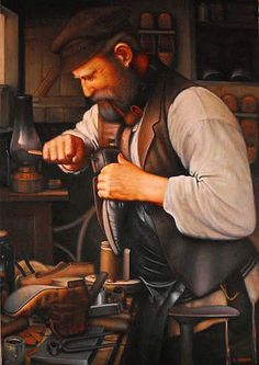 eduard gurevich (©2013 artmajeur.com/eduard-gurevich) Old Warshaw. Jewish Shoemaker. oil on canvas.