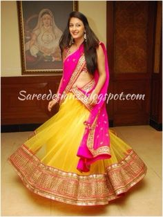 Sexy Saree and Navel Show - Most viewed pictorial on MB! - Page 4796 Half Saree Lehenga, Lehnga Dress, Bridal Lehenga Choli, Sari, Half Saree Designs, Lehenga Designs, Saree Blouse Designs, Indian Party Wear, Indian Wedding Outfits