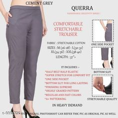 Checkout this latest Women Trousers Product Name: *Women Comfort Stretchable Trouser* Fabric: Lycra Pattern: Solid Multipack: 1 Sizes:  26, 28, 30, 32, 34, 36, 38, 40, 42 Country of Origin: India Easy Returns Available In Case Of Any Issue   Catalog Rating: ★4.1 (2988)  Catalog Name: Women Comfort Stretchable Trouser CatalogID_1646493 C79-SC1034 Code: 013-9390720-327