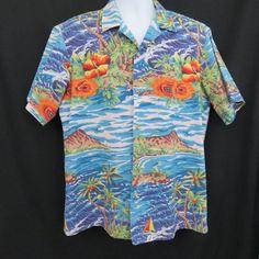 Vintage RJC L Turquoise Ocean Diamond Head Palm Trees Hawaiian Aloha Shirt #Hawaiian #Hawaiian #Casual