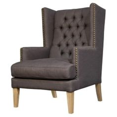 Charmant Gray Linen Button Tufted Wing Chair Nail Head Trim Occasional Accent Chair   $1.024.00