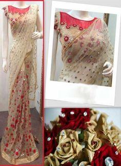 Beige Mirror Work Sequin Work Net Raw Silk Wedding Sarees  http://www.angelnx.com/Sarees/Wedding-Sarees