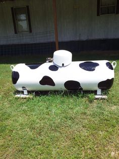 Painted cow propane tank.