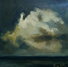 The Storm at Sea- Original Landscape Oil Painting- Ocean Seascape with Dark Clouds Over the Water- Small Impressionist Minimal Art Decor