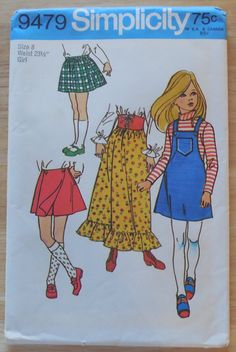 Simplicity 9479 Size 8 Girl's Skirts-Vintage Simplicity Size 8 Girl's Skirts and Pantskirt Pattern by ShellyisVintage on Etsy