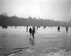 Ice hockey on Lost Lagoon, 1924 or 1925  Hi rez.  Source: Photo by Walter H Calder, City of Vancouver Archives #St Pk N6 #icehockey