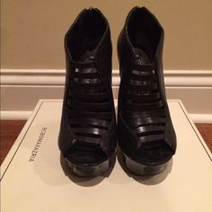 BCBG MaxAzria black booties Booties are in excellent condition. Only worn twice. Comes with original box. BCBGMaxAzria Shoes Ankle Boots & Booties