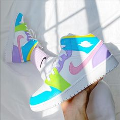 Nike Custom Air Jordan 1 Mid Sneakers- Multi Color Hand Painted With Leather Paint And Coatedwaterproof New With Box Options To Buy Are Already Converted In Womens Sizes !!!Size 4y- Womens 5.5size 4.5y- Womens 6 Size 5y- Womens 6.5 Size 5.5y- Womens 7 Size 6y- Womens 7.5 Size 6.5y- Womens 8 Size 7y- Womens 8.5 Cute Nike Shoes, Cute Nikes, Cute Sneakers, Cool Womens Sneakers, Shoes Sneakers, Sneakers Style, Sneakers Women, Jordan Shoes Girls, Girls Shoes
