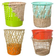 Bow Bin designed by Cordula Kehrer. Made from sustainably harvested rattan and reclaimed bins, the colorful plastic charmingly offsets the natural wickerwork.