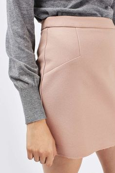 In a soft rose colour, this raw edge fold over mini skirt is perfect styled back with a high neck top and bomber jacket. Silhouette S, High Neck Top, Raw Edge, Cool Girl, Tights, Bomber Jacket, Topshop, Mini Skirts, Faith