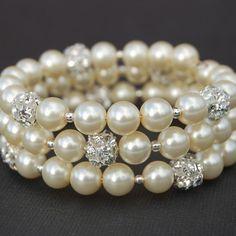 Wedding Ivory Pearl Rhinestone Memory Wire Bracelet, Bridesmaid Jewelry on Etsy, $24.00