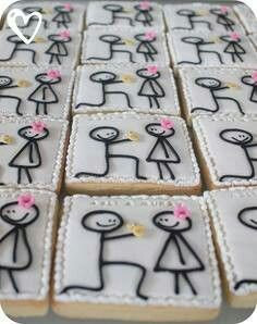 Wedding shower cookies. So cute! Give me an afternoon or two with a few people, I can so do this!