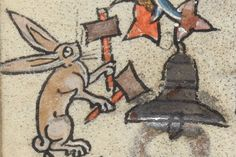 Rabbit ringing a bell - Sonnez les matines! from the Hours of the Virgin, Add MS f. Medieval World, Medieval Art, Medieval Manuscript, Illuminated Manuscript, Evil Bunny, Everything Is Illuminated, Medieval Paintings, Esoteric Art, Post Animal