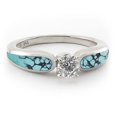 Gold And Turquoise Wedding Rings | Turquoise and .33 ct Diamond Engagement Ring - Engagement Rings ... #weddingring