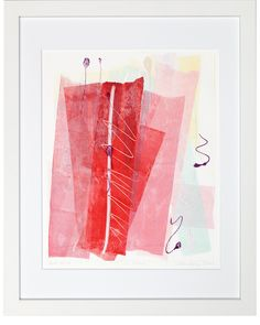 """Red Sails"" by Ellen Levine Dodd - Monoprint on heavy archival cotton rag paper framed in contemporary white frame - 12"" x 15"" - available for sale"