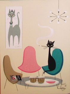 El gato gomez painting retro eames knoll mid century m Retro Kunst, Retro Art, Vintage Art, Mid Century Modern Art, Mid Century Art, Black Cat Art, Black Cats, Illustrations, Illustration Art
