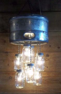 MILLER BREWING CO. BEER KEG Chandelier Unique Beer 8 Mason Jar Light Fixture
