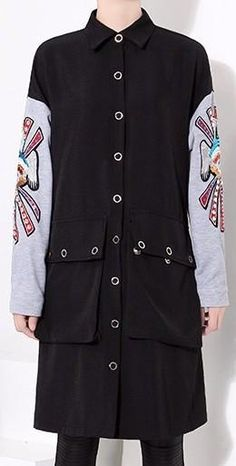 Embroidered Sleeve Shirt-Coat