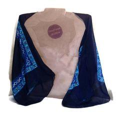 Boho Kimono Shrug - Blue Bolero Jacket - Navy Evening Shawl Wrap - Geometric Scarf Shrug - Sheer Bolero - Eco Clothing - Womens Size SMALL by CreationsReNew on Etsy https://www.etsy.com/listing/503068294/boho-kimono-shrug-blue-bolero-jacket