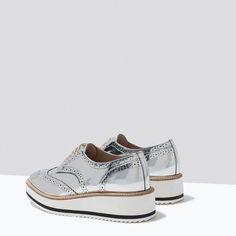 Mijn nieuwe liefdes❤️!!! METALLIC PLATFORM BLUCHERS-View all-Shoes-WOMAN | ZARA United States