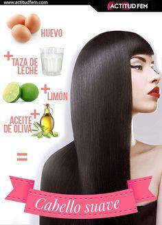 Para un cabello suave : Las yemas, no sólo hará q su cabello suave, brillante y saludable, sino q le ayuda a crecer. Mezclar 2 yemas d huevo c 2 cuchs d aceite d oliva, diluir la mezcla añadiendo un vaso d agua, y luego, lentamente ya fondo masajear esta máscara en su cuero cabelludo. Dale a tu cabello y el cuero cabelludo d 15 a 20 min p/a absorber tds los nutrientes necesarios y luego enjuague.