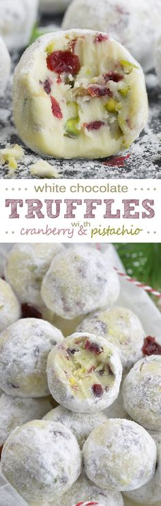 Cranberry Pistachio White Chocolate Truffles are super cute and festive no-bake dessert! This is the tastiest Christmas dessert recipe ever! christmas food and drinks Coconut Dessert, Oreo Dessert, Cranberry Dessert, Candy Recipes, Sweet Recipes, Dessert Recipes, Baking Desserts, Snacks Recipes, Desserts Diy