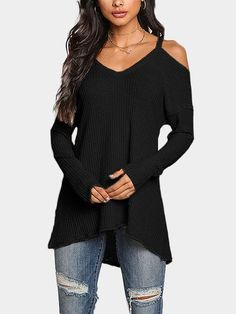 Grey Cold Shoulder Long Sleeves Knitted Top from mobile - US$19.95 -YOINS