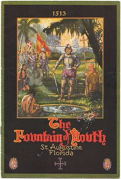 The Fountain of Youth St. Augustine Florida. Published in Florida by City of St. Augustine , circa 1930.   This vintage souvenir guide and travel brochure is dated by the text of the brochure itself last date mentioned is 1927 so most likely not later than 1930 or so. This 6 by 9 inch vintage pamphlet is in very good collectible condition with a small chip to the tip of the lower outside corner and light dust soiling as shown. See Photos