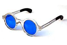 vintage unisex clear round frame with blue lenses sunglasses Hi Tek Alexander Round Sunglasses, Mirrored Sunglasses, Ozzy Osbourne, Round Frame, Lady Gaga, Eyeglasses, Lenses, Eyewear, Plastic