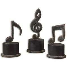 Allegro Industrial Loft Black Music Note Sculptures - Set of 3