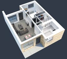 New apartment studio layout floor plans young couples Ideas 3d House Plans, Small House Plans, Apartment Layout, 1 Bedroom Apartment, One Bedroom House, Studio Layout, Apartment Floor Plans, Student House, Small House Design