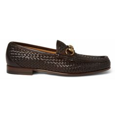 Gucci Woven Leather Horsebit Loafers