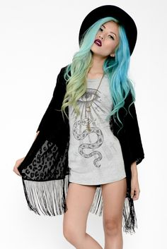 Velvet Burnout Cheetah Print Kimono - Black #mintyjungle