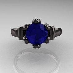 Antique 14K Black Gold 1.5 CT Blue Sapphire Designer Ring